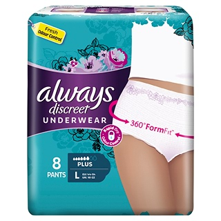 Image for Always Discreet Underwear L Plus - 8 Pack from DDS