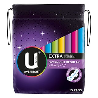 Image for U by Kotex Pads Maxi Overnight - 10 Pack from DDS