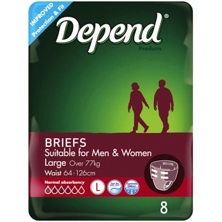 Image for Depend Briefs for Men & Women Large - 8 Pack from DDS