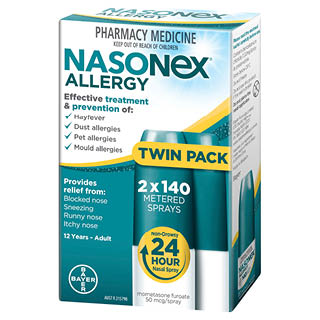 Image for Nasonex Allergy NonDrowsy 24 Hr Nasal Spray Twin Pack - 2 x 140 Sprays from DDS