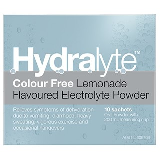 Image for Hydralyte Colour Free Lemonade Powder Sachets 4.9 x 10 from DDS