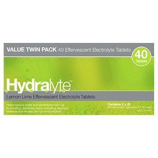 Image for Hydralyte Lemon Lime Effervescent Electrolyte Tablets - 40 Pack from DDS