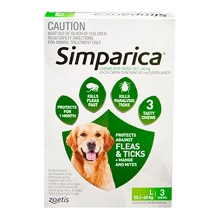 Image for Simparica For Dogs 20.1 - 40kg Green - 3 Pack from DDS