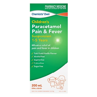 Image for Chemists Own Paracetamol Suspension 1- 5Yrs - 200ml from DDS