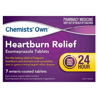 Image for Chemists Own Heartburn Relief Esomeprazole Tablets 20mg - 7 Tabs from DDS